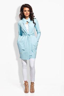Modrý zavinovací plášť s vreckami