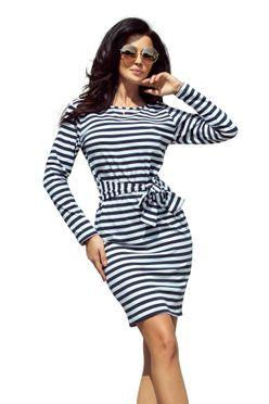 Námornícke šaty s opaskom 209-1