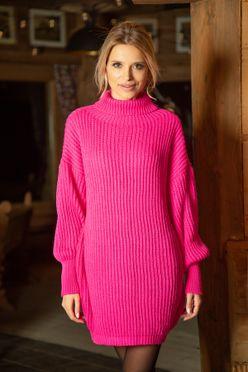 Neónovo ružové pletené dámske šaty F613