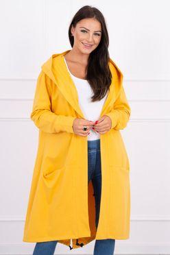 Oversize teplákový dlhý dámsky kardigan v žltej farbe 0044