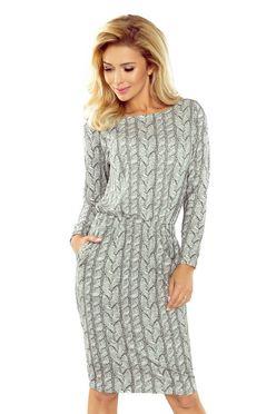 Dámske šaty s potlačou pleteniny v sivej farbe 172-1