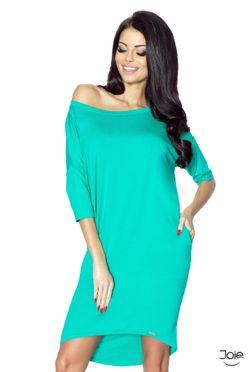 Predĺžené dámske šaty s vreckami v tyrkysovej farbe 09-12