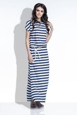 Pruhované tmavo modré dámské maxi šaty F310