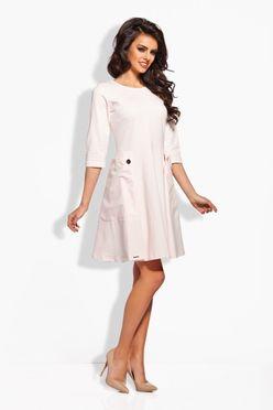 Púdrové šaty s dvomi gombíkmi