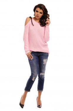 Púdrový dámsky sveter s mašľou