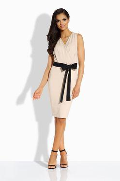 Puzdrové béžové šaty s mašľou L200