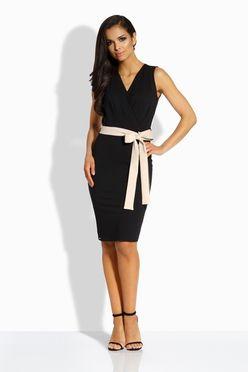 Puzdrové čierne šaty s mašľou L200