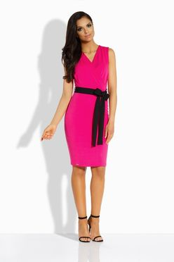 Puzdrové ružové šaty s mašľou L200