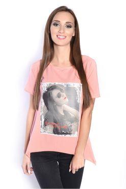 Ružová blúzka/tričko s potlačou fotky ženy OX2570