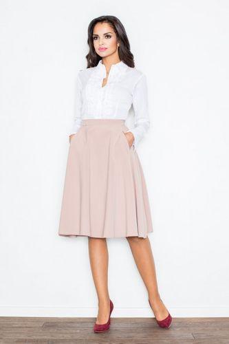 Ružová áčková sukňa po kolená M317