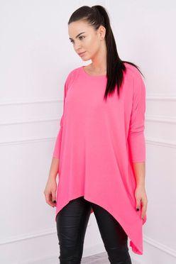 Ružové predĺžené dámske tričko v ružovej farbe K12213