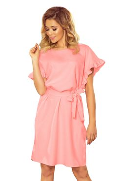 Ružové šaty s opaskom a volánom 229-1