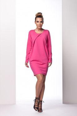 Ružové dámske šaty s preloženým dekoltom L100