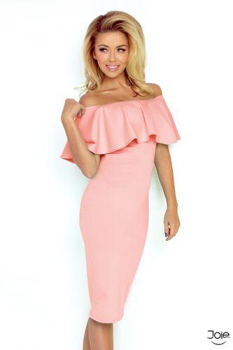 Ružové slávnostné dámske šaty s volánom 138-8