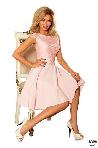 Ružové spoločenské áčkové šaty MARTA 157-4