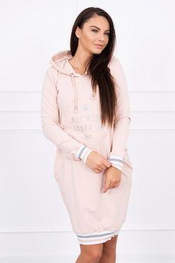 8c6577a02185 Ružové športové šaty s kapucňou a vreckami Broklyn K10109