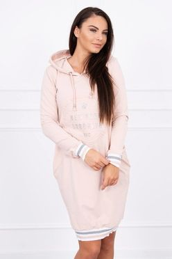 Ružové športové šaty s kapucňou a vreckami Broklyn K10109