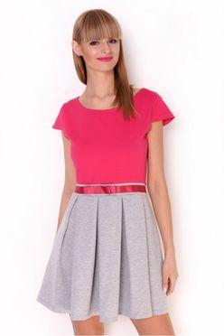 Ružovo-šedé áčkové šaty OX2428