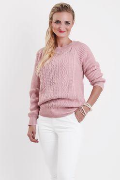 Ružový vzorovaný dámsky sveter SANDY