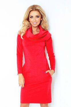 Dámské šaty s golierom v červenej farbe 131/4