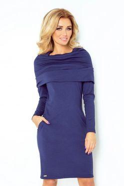 Dámske šaty s golierom v modrej farbe 131/5
