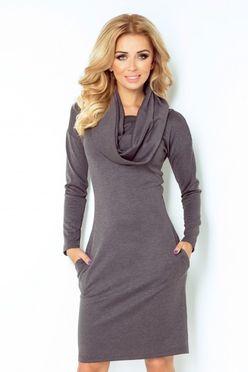 Dámske šaty s golierom v šedej farbe 131/3