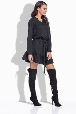Áčkové šaty s viazaním v čiernej farbe 168
