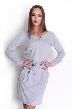 Šaty s viazaním v páse OX2769 šedé