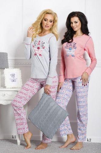 Šedé dámske pyžamo ELZA 1194 vzor k1