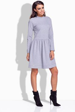 Šedé dámske šaty s gombíčkami na ramene 174