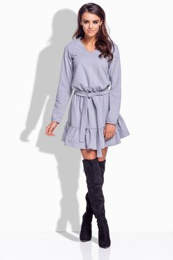 Šedé dámske šaty s viazaním 168