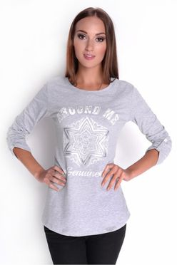 Šedé dámske tričko s potlačou OX6632