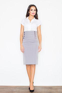 Sivá puzdrová sukňa s vysokým pásom M036