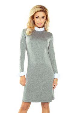 Sivé biznis šaty s bielym golierom 167-1