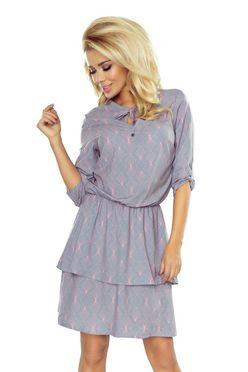 Sivé dámske šaty TINA s neónovým vzorom 182-2 15d2808ae4