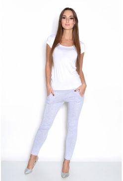 Sivé elastické teplákové nohavice s vreckami OX1049