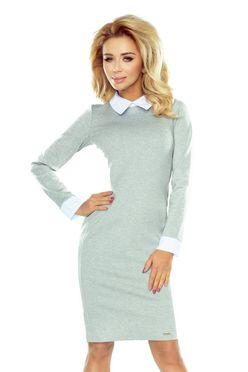 06f1173e58d4 Sivé dámske šaty s bielym golierom 143-4 ...
