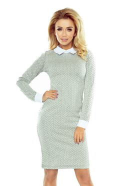 79430d007d6e Sivé šaty s bielym golierom a manžetami 143-3