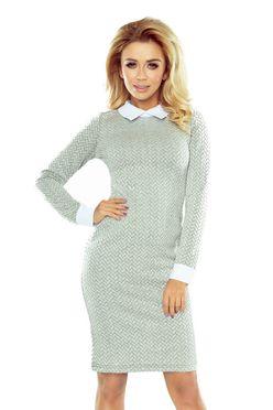 Sivé šaty s bielym golierom a manžetami 143-3