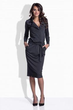 Sivé bavlnené šaty s opaskom 161