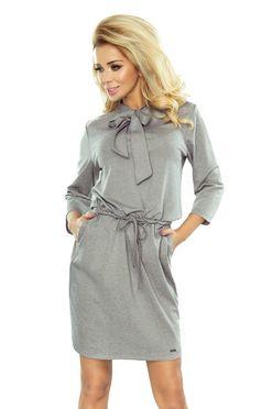 Sivé dámske šaty ZUZIA s mašľou 177-2