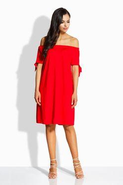 Slavnostné červené rovné šaty bez rukávov L212