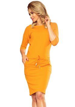 Krátke športové šaty medovej farby 13-100