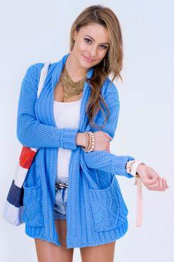 Pletený sveter Ariana v modrom prevedení