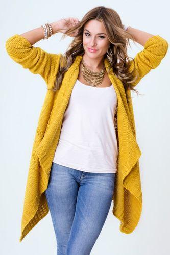 Dámsky sveter LORA v horčicovej farbe
