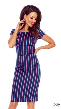 Tmavo modré midi puzdrové šaty s farebnými pásikmi 87-13