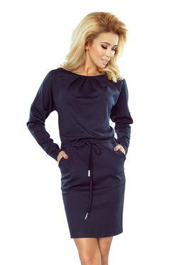 Tmavomodré šaty s dlhým rukávom a uväzovaním 183-2 abf2e839577