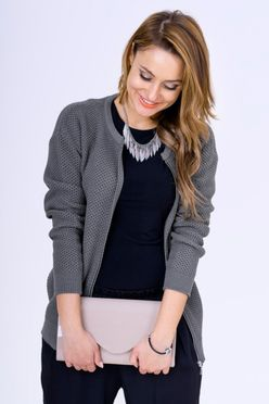 Tmavošedý sveter LUNA na zips
