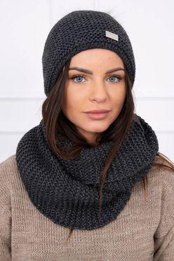 Tmavosivá pletená dámska čiapka s nákrčníkom K113