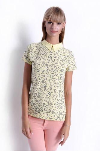 Žlté dámske tričko so srdiečkami OX2470